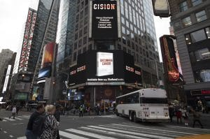 Image of book launch in Times Square